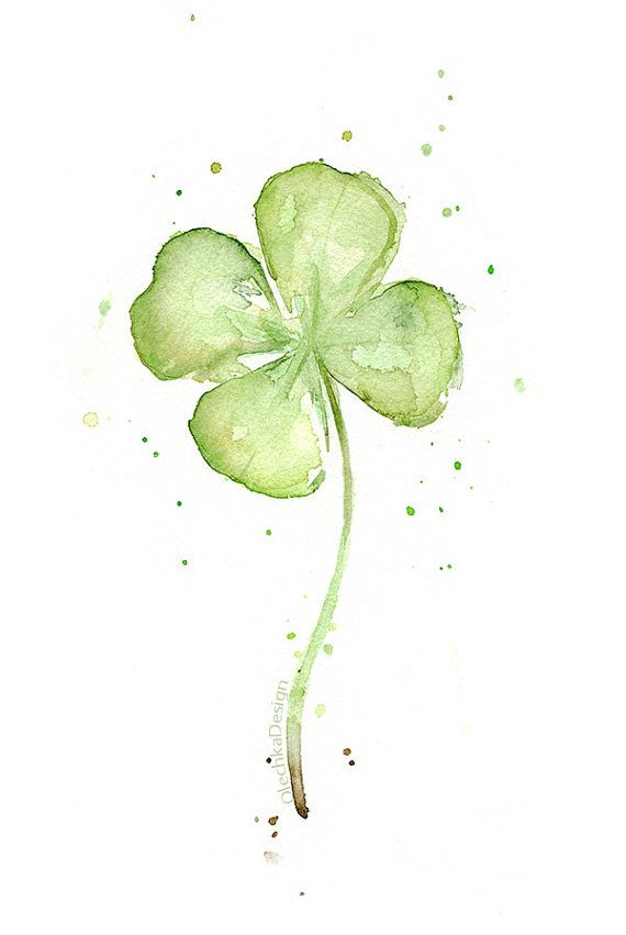 Four Leaf Clover Art Print of Watercolor Painting, Plants, St ...