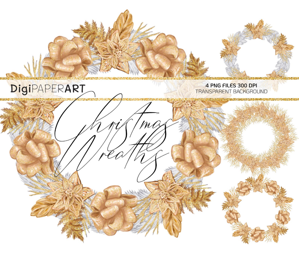Gold Christmas Wreath Png Wreath Frames Clipart Golden Etsy Wreath Frames Frame Clipart Gold Christmas