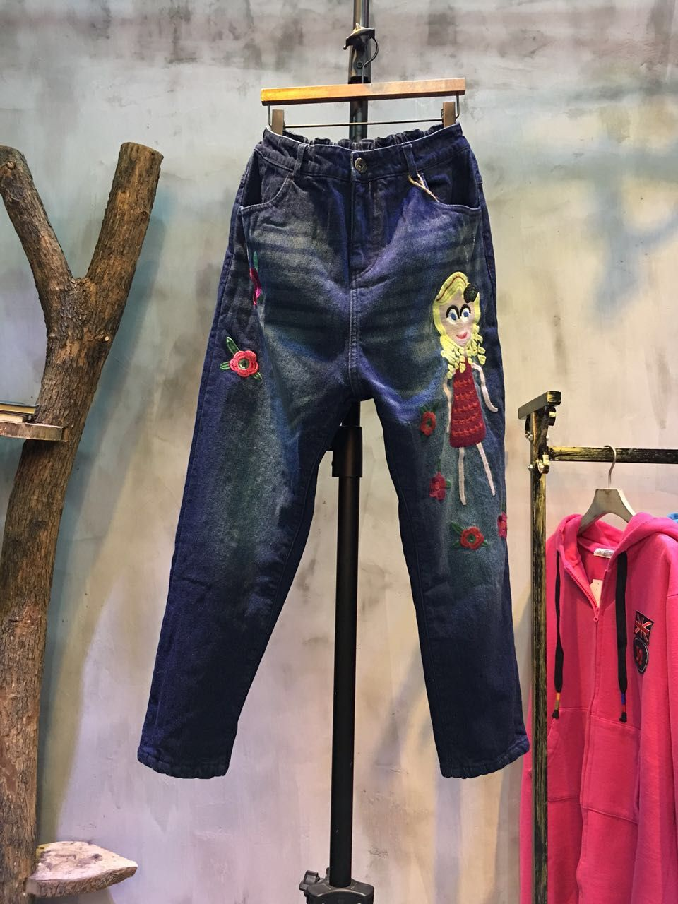769b45f715e Girl And Rose Embroidery Fashion Jeans Womans Baggy Jeans  rose  embroidery   baggy  jeans  fashion  pants  trousers  bottoms