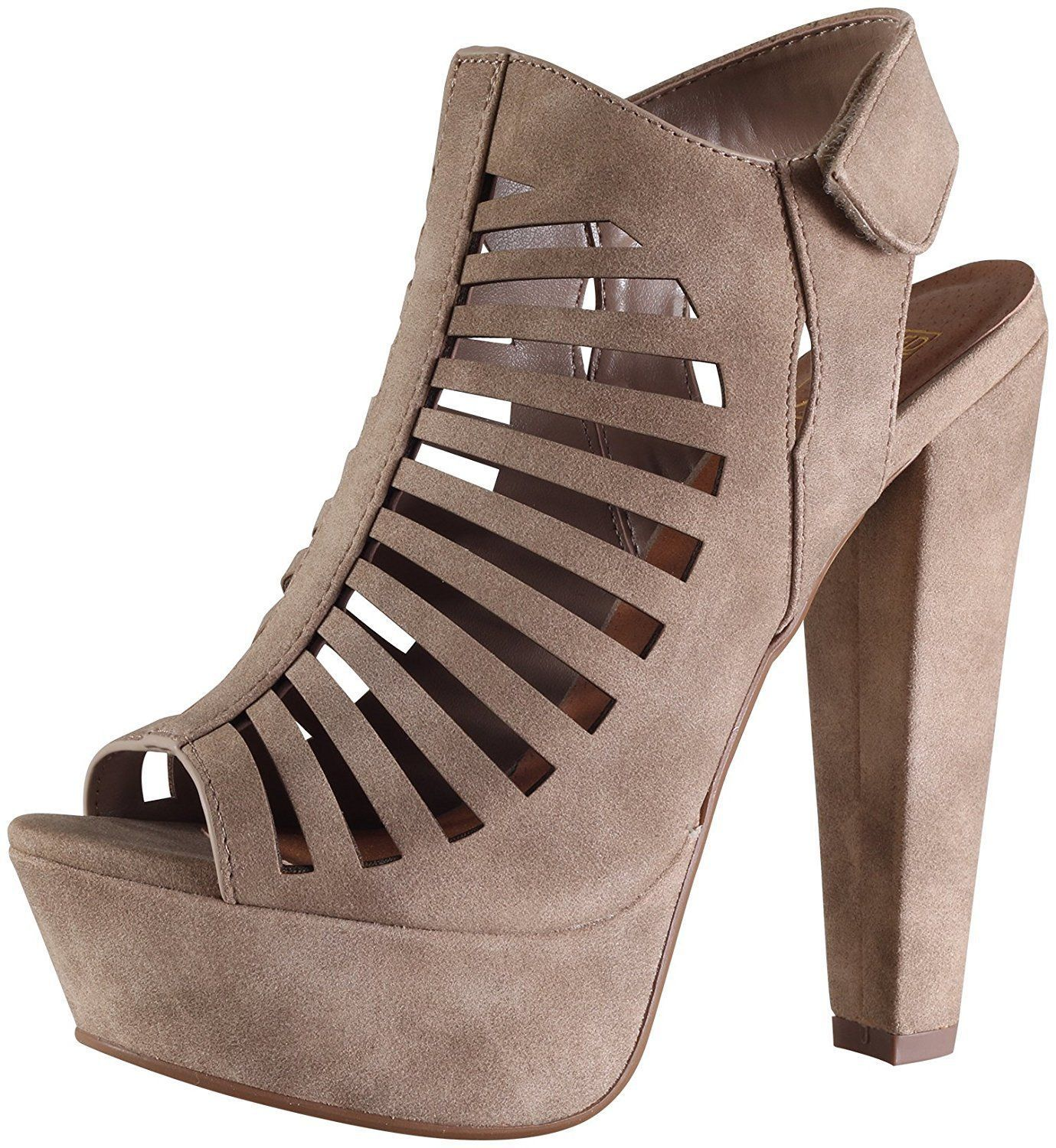 MANJI! Speed Limit 98 Women's Peep Toe Slingback CutOut Platform Chunky Heel Sandals