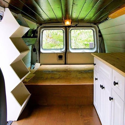 Storage Cubbies • • Repost from @carliewelsh #VanCrush #vanlife