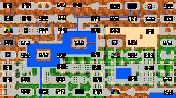 zelda game map | 13LegendOfZelda-SecondQuest-Hyrule(Items) | Video ...