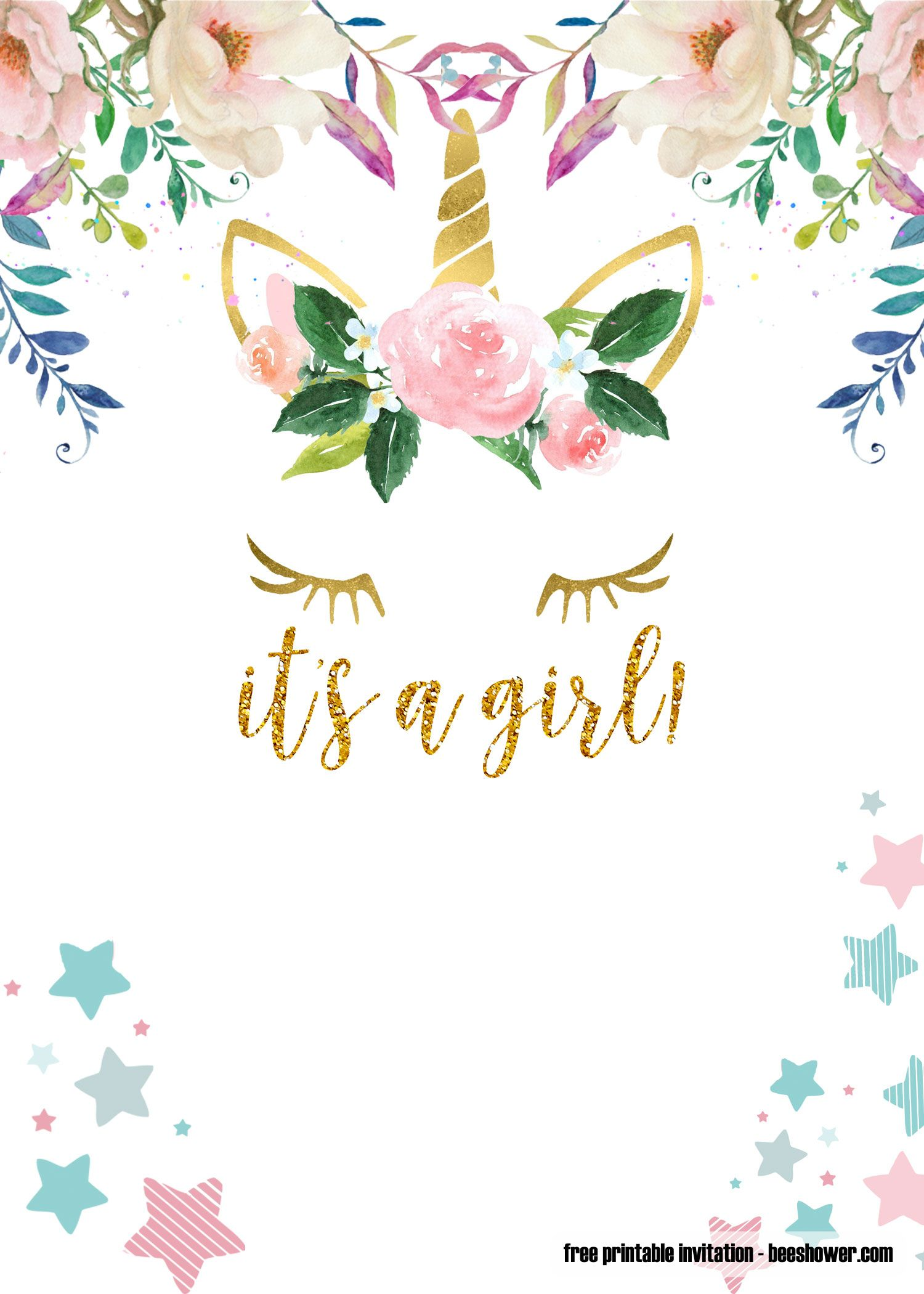Cool Free Pink And Gold Unicorn Templates For Baby Shower