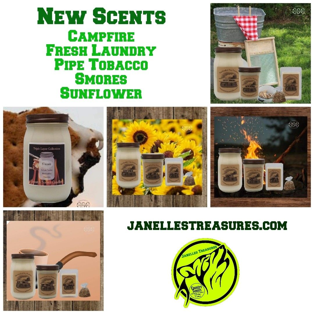 Looky looky what new scents are coming tomorrow. Which one(s) ard you excited to try?  www.countryscentscandles.com/store/janellestreasures #janellestreasures #newscents #smellygood