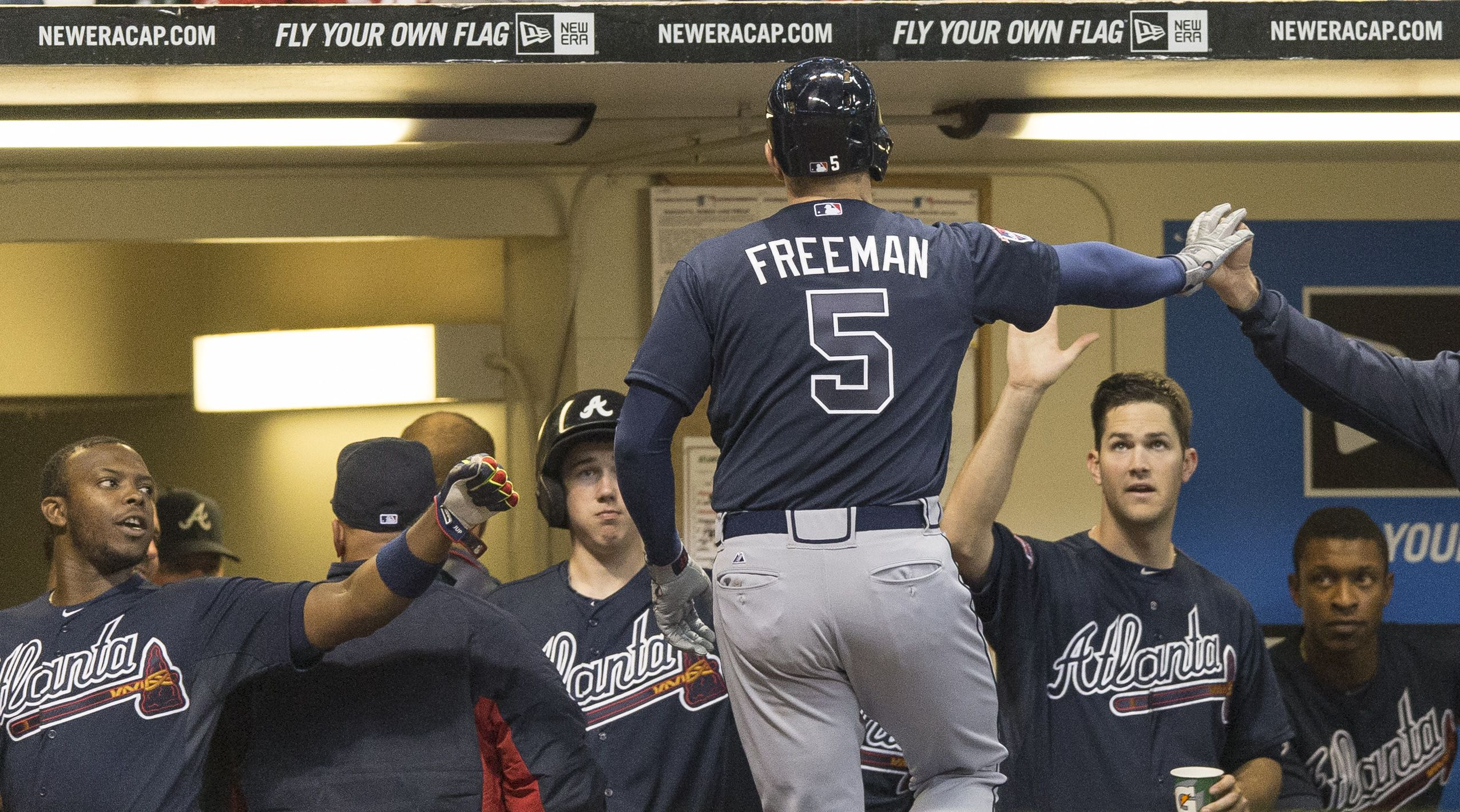 Freddie Freeman Unloaded Some Of His And The Braves Pent Up Frustrations Against The Brewers With A Pair Of Home Braves Atlanta Braves Atlanta Braves Baseball