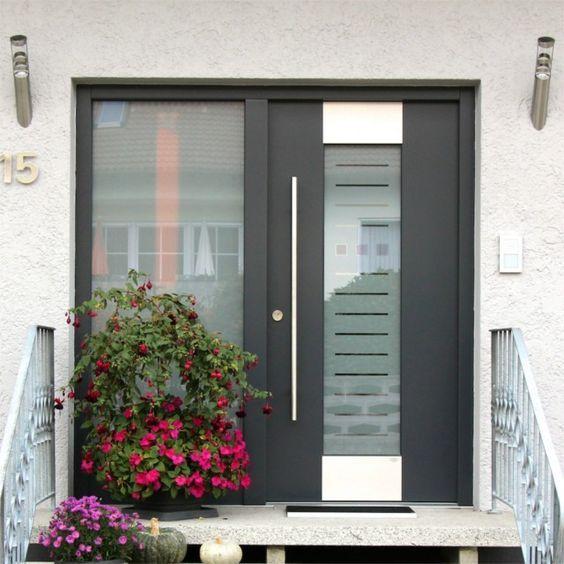 Amazing Einfache Dekoration Und Mobel Moderne Fenster Energiesparend Und Einbruchssicher #7: Moderne Haustüre Mit Seitlichem Fenster