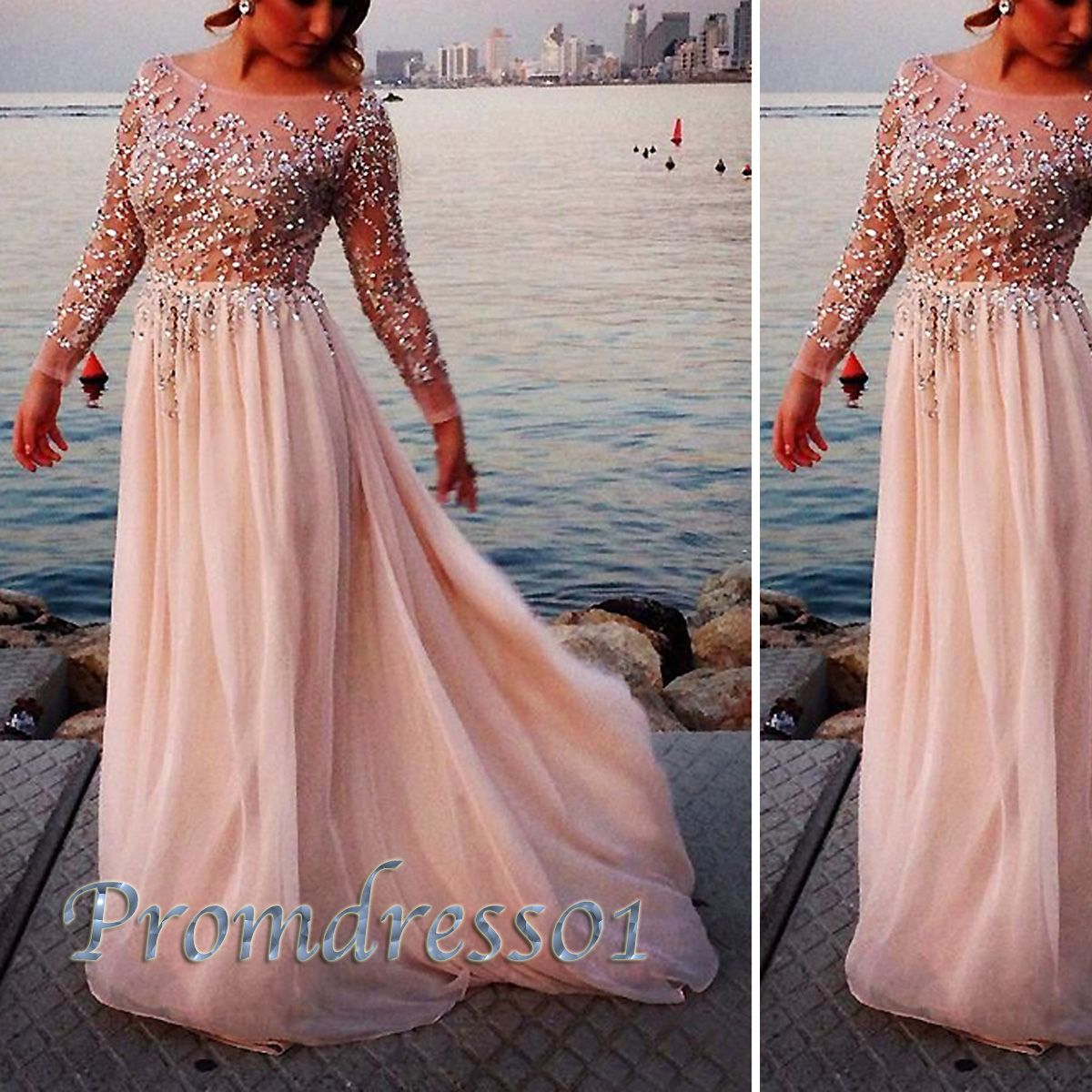 Prom dress cute long sleeves round neck sparkly sequins floor