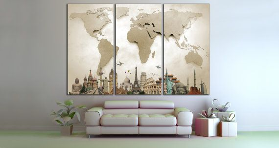 About this product world map large print beige world map big world about this product world map large print beige world map big world map canvas print gumiabroncs Choice Image