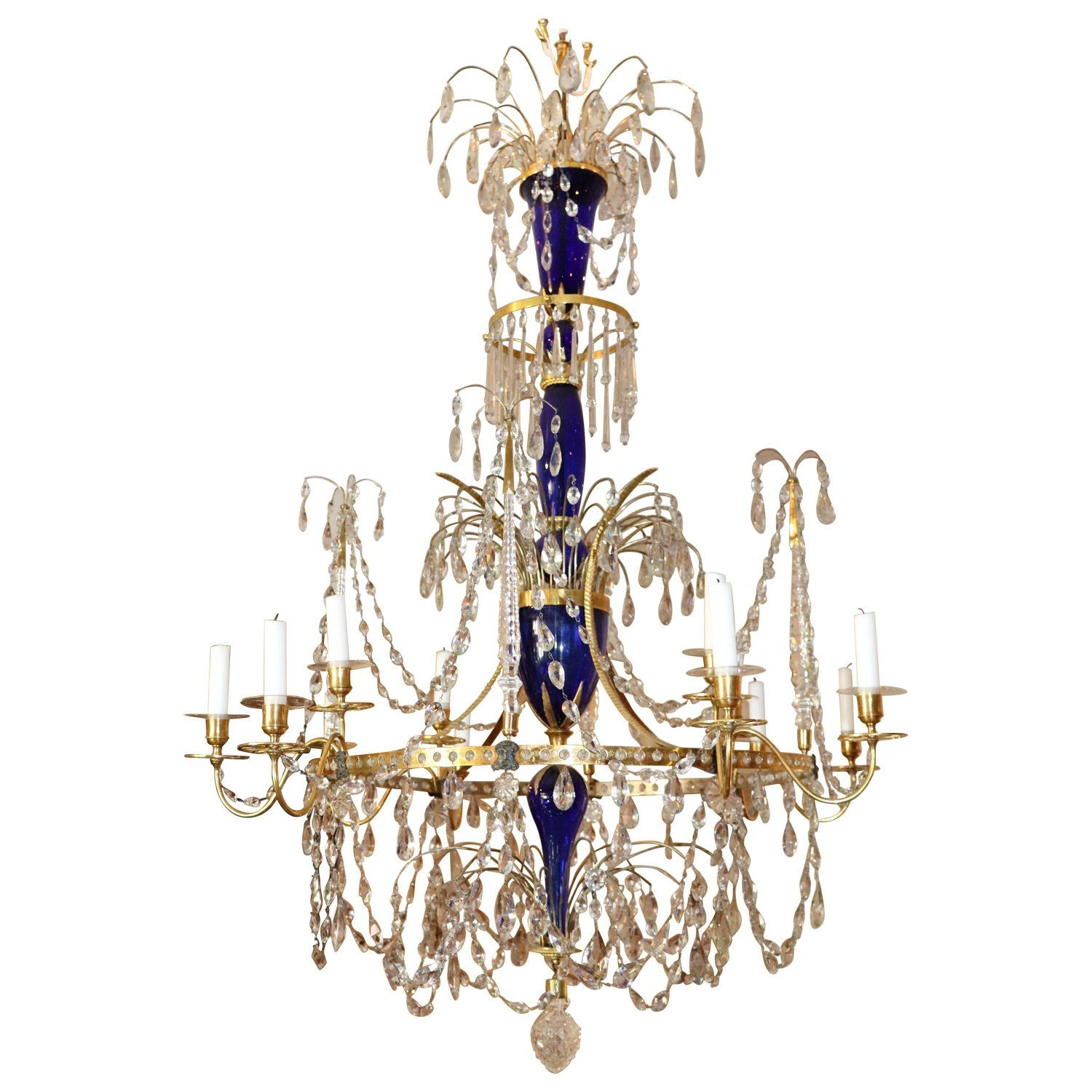 Late 18th Century Russian Gilt Bronze And Crystal Chandelier