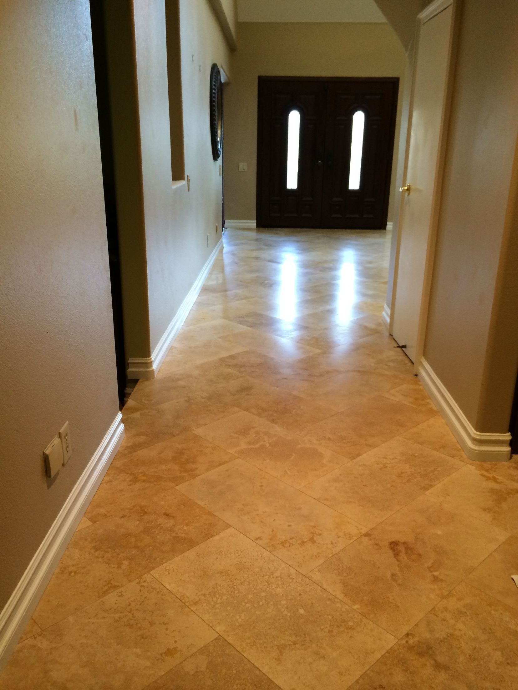 12x24 Travertine In Herringbone Tile Layout Tile Floor Flooring
