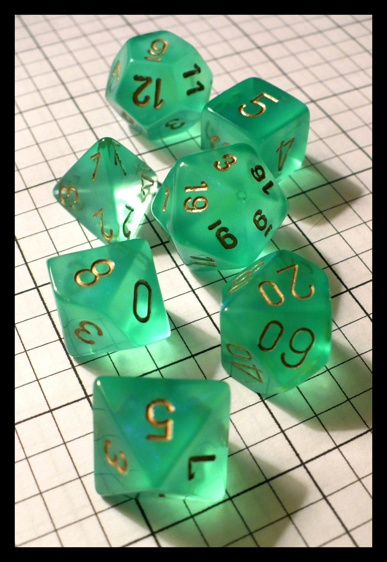 Dice - Dice Sets - Chessex Borealis Light Green with White Gen Con Aug 2009 (Joe Barbercheck's DICE SETS)