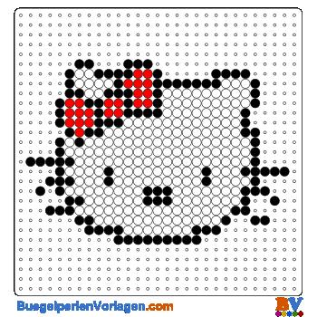 Hello Kitty Portrait gross Bügelperlen Vorlage. Auf