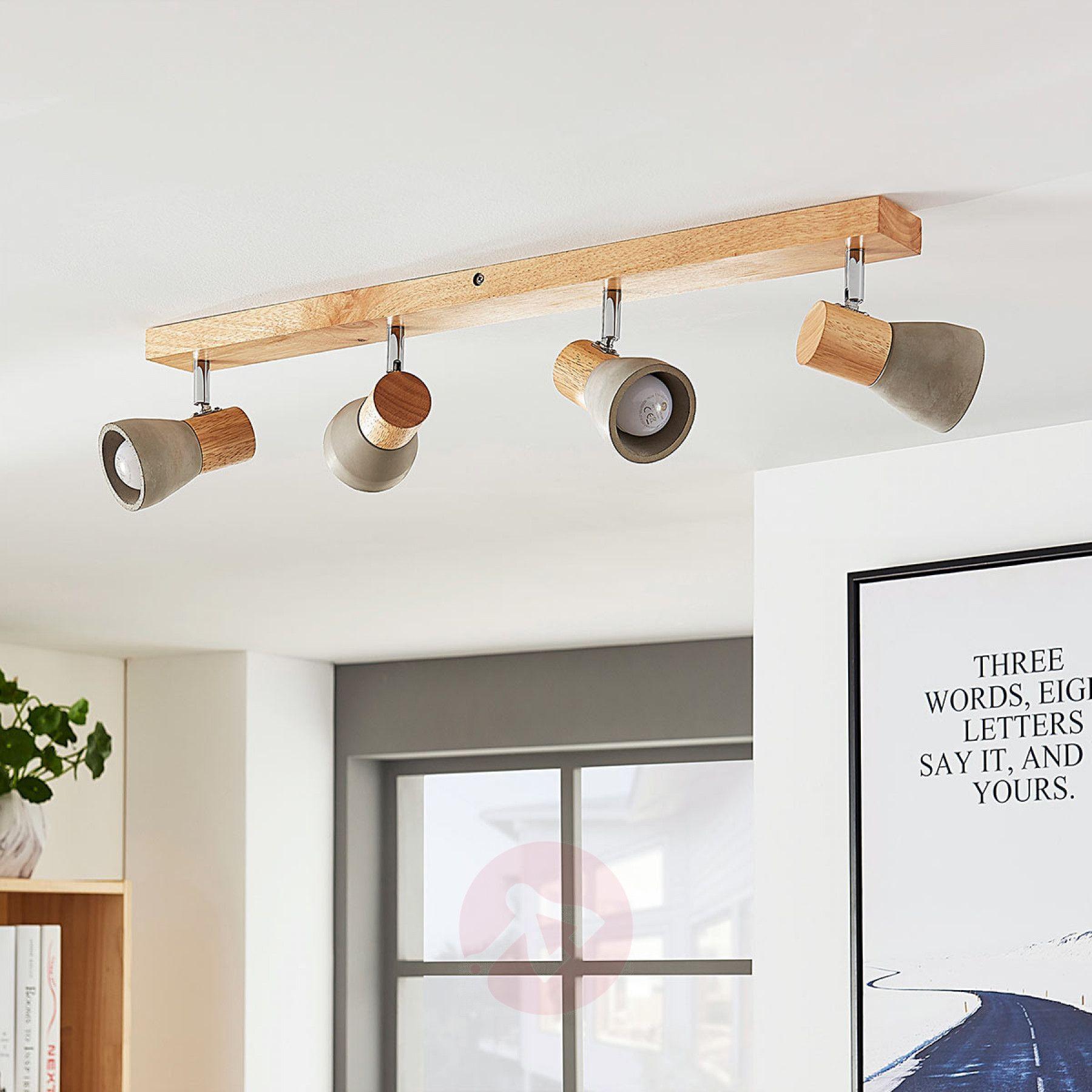 four bulb wooden led ceiling light