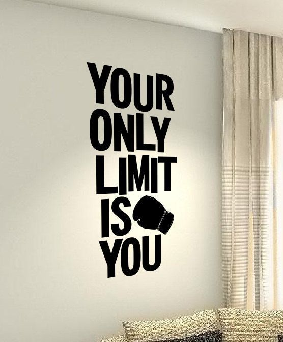 Your only limit is you MMA Workout Motivational Fitness Gym workout Quote wall vinyl decals stickers...