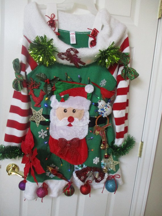 ff6fb7343a Ugly Christmas Sweater Dress lights up X L 16 18 hand made womens ugly Xmas  sweater dress Xmas parti