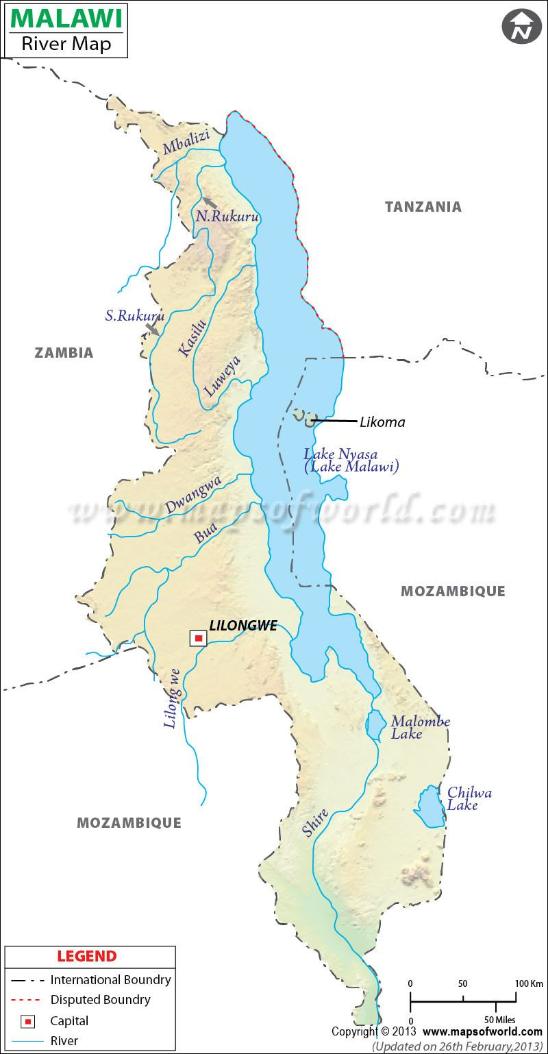 Malawi River Map | Maps | Africa map, Map, River