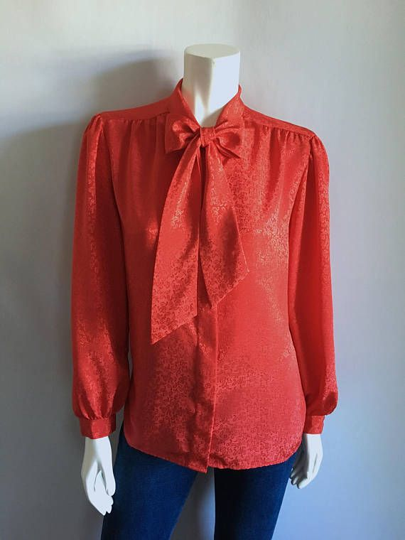 8aece3fe Vintage Women's 80's Bow Tie Blouse Red Polyester | Products I Love ...