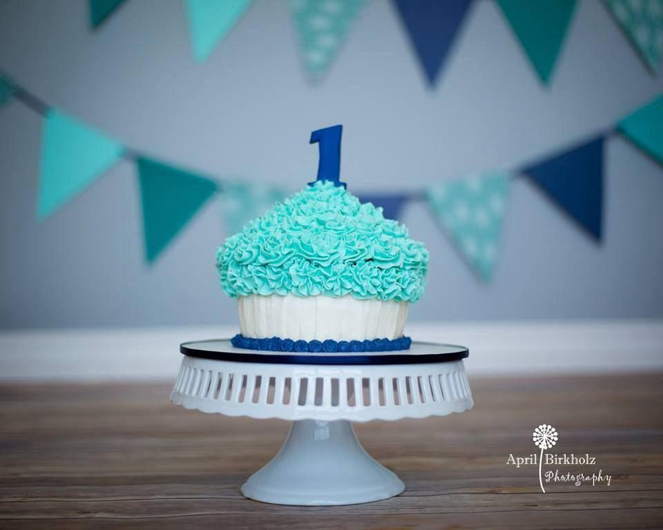 Blue Boy 1st Birthday Giant Cupcake Smash Cake By Nicky Bs Cakes