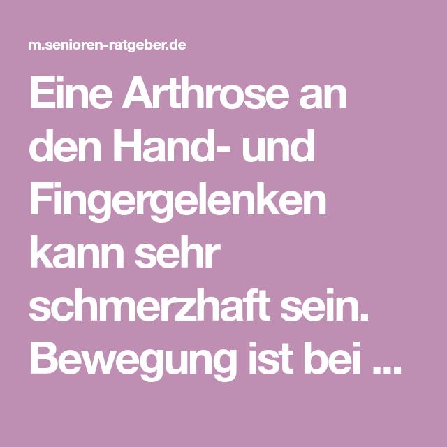 Was bei Hand- und Fingerarthrose hilft - Finger, Senioren..