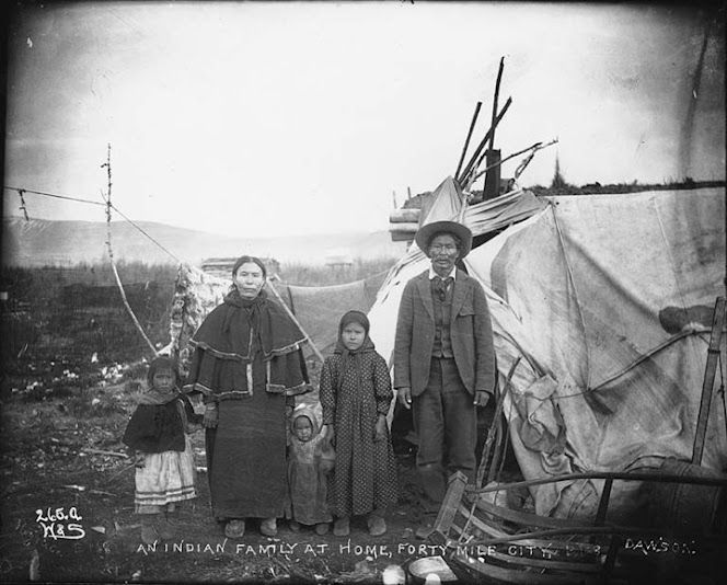 Gwich'in family at Fortymile City, Yukon Territory - circa 1899