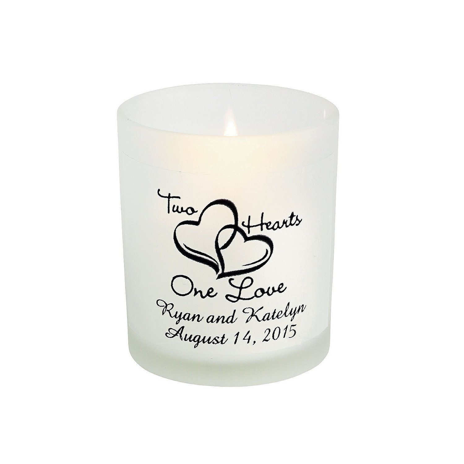 Personalized Two Hearts One Love Wedding Votive Holders ...