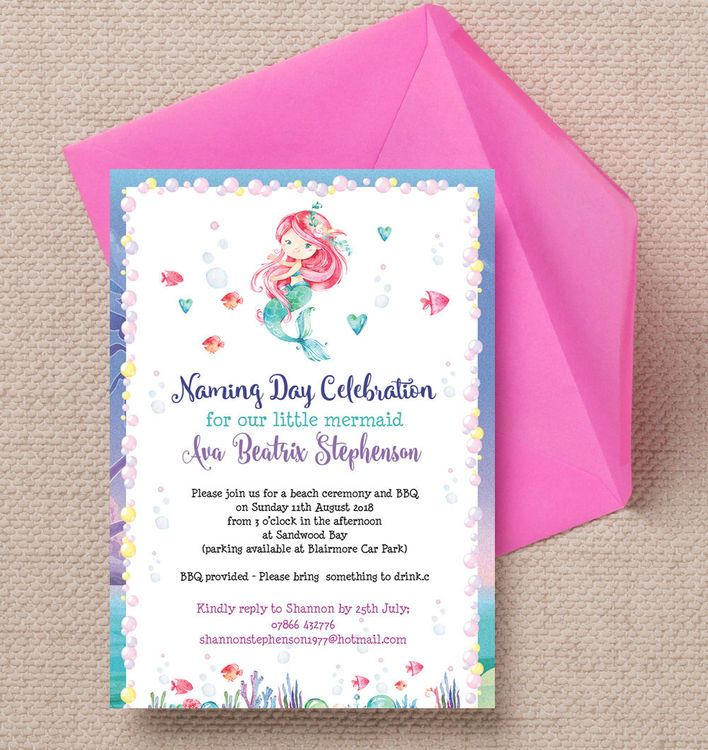 Mermaid naming day invitation mermaid mermaid naming day invitation personalised kids invites customise online with live preview as you filmwisefo