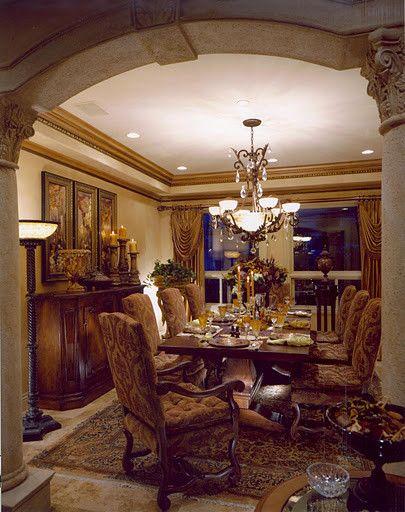 Mediterranean Dining Design Ideas Pictures Remodel And Decor Tuscan Dining Rooms Dining Room Design Elegant Dining Room