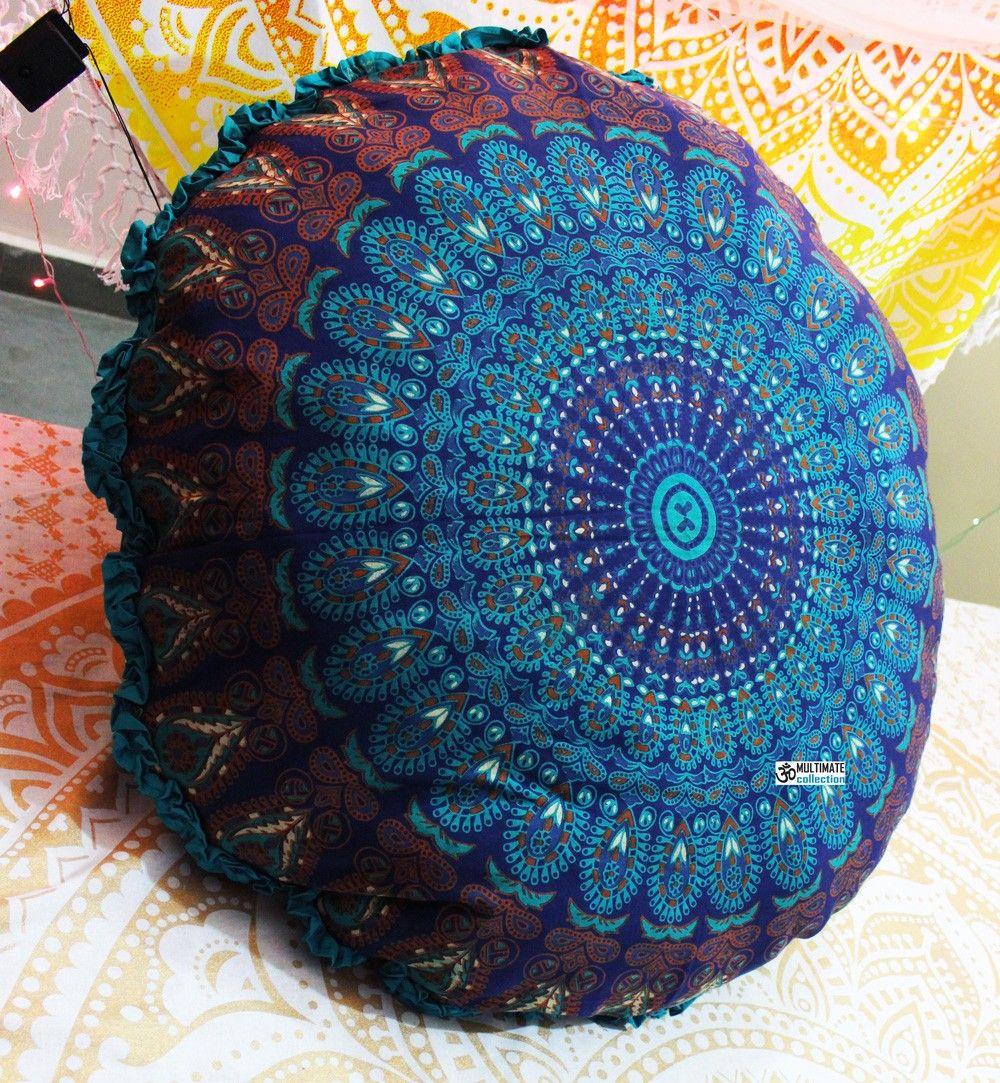 Akasha Round Floor Pillow Turquoise Border Floor pillows