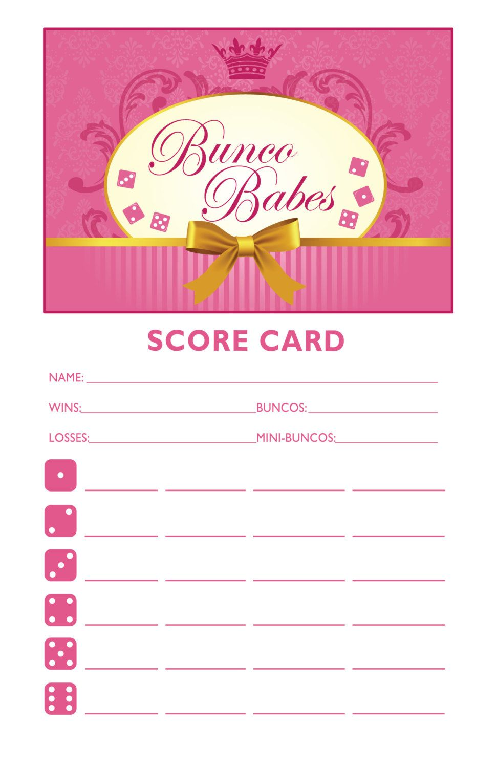Clean image pertaining to printable bunco score cards