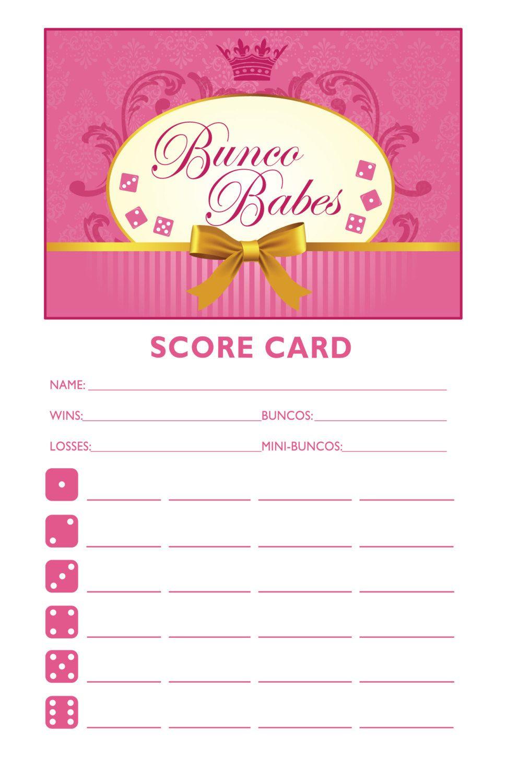 Bunco Babes Printable Bunco Score And Table Card Set AKA Bunko