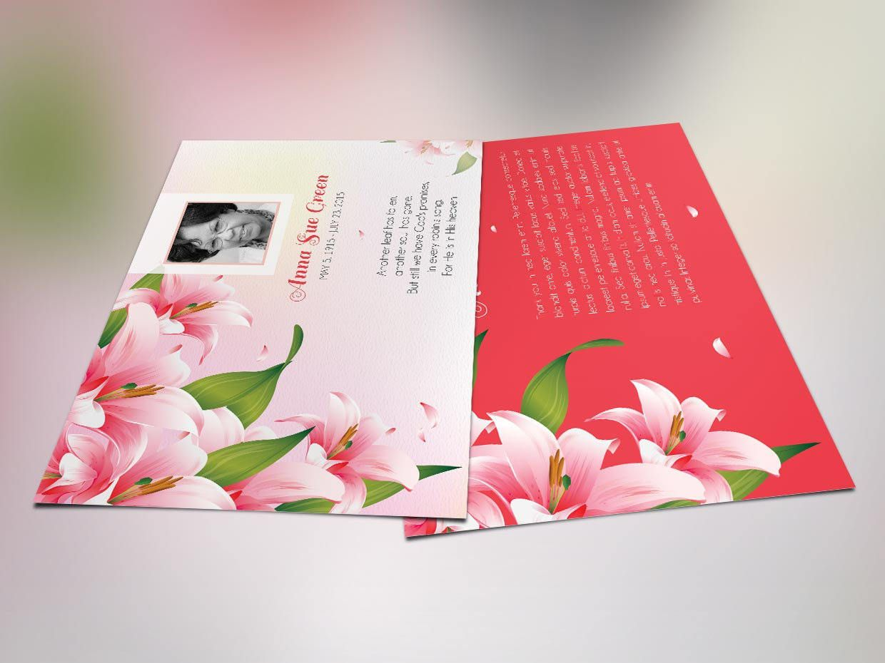 Petals Memorial Thank You Card Publisher Template