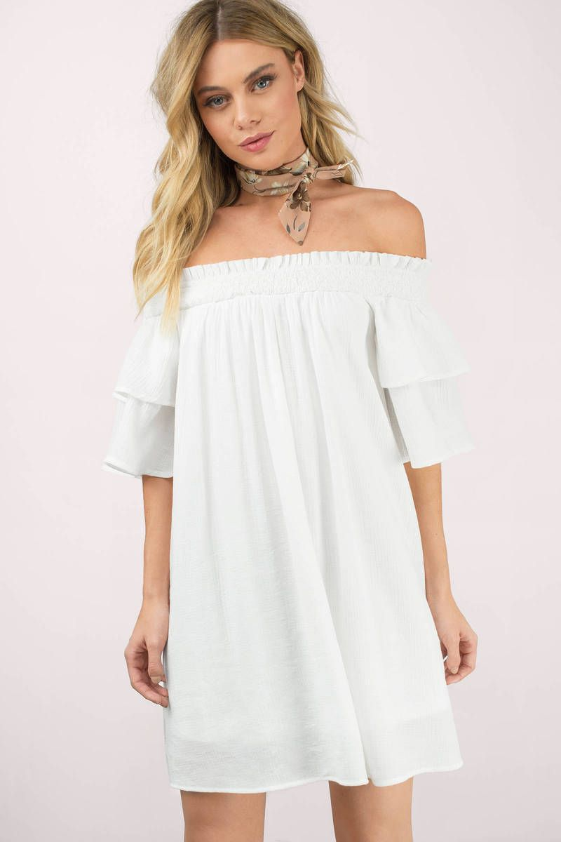c99d0b2ca8803 Bianca Off Shoulder Shift Dress in 2019 | Rush Week | Dresses, White ...