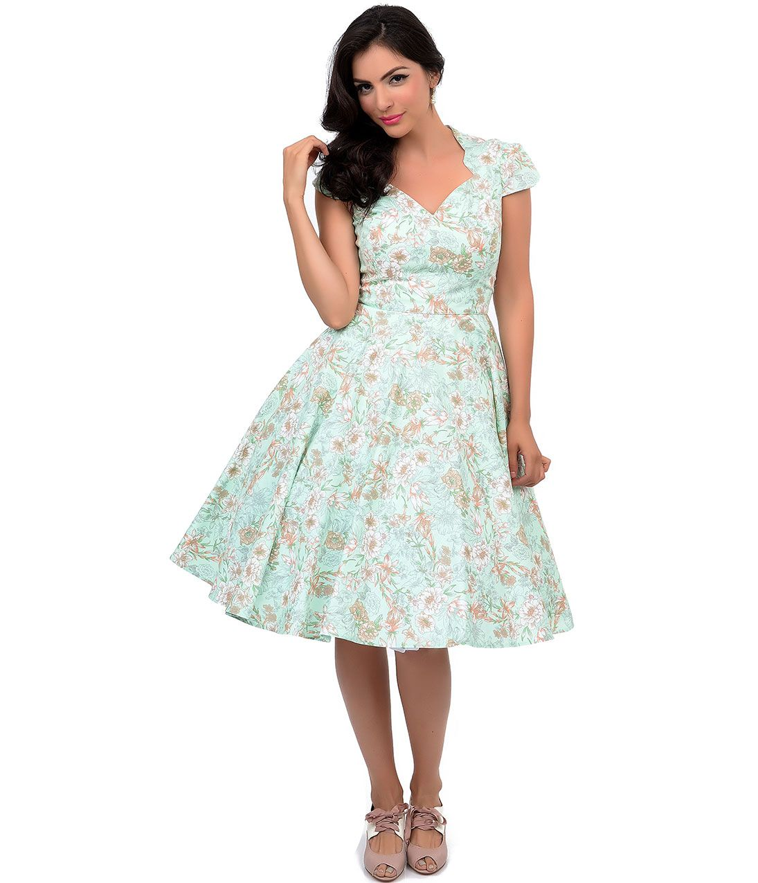Hell Bunny 1950s Style Green Taupe Floral Camellia Swing Dress $88.00 AT vintagedancer.com