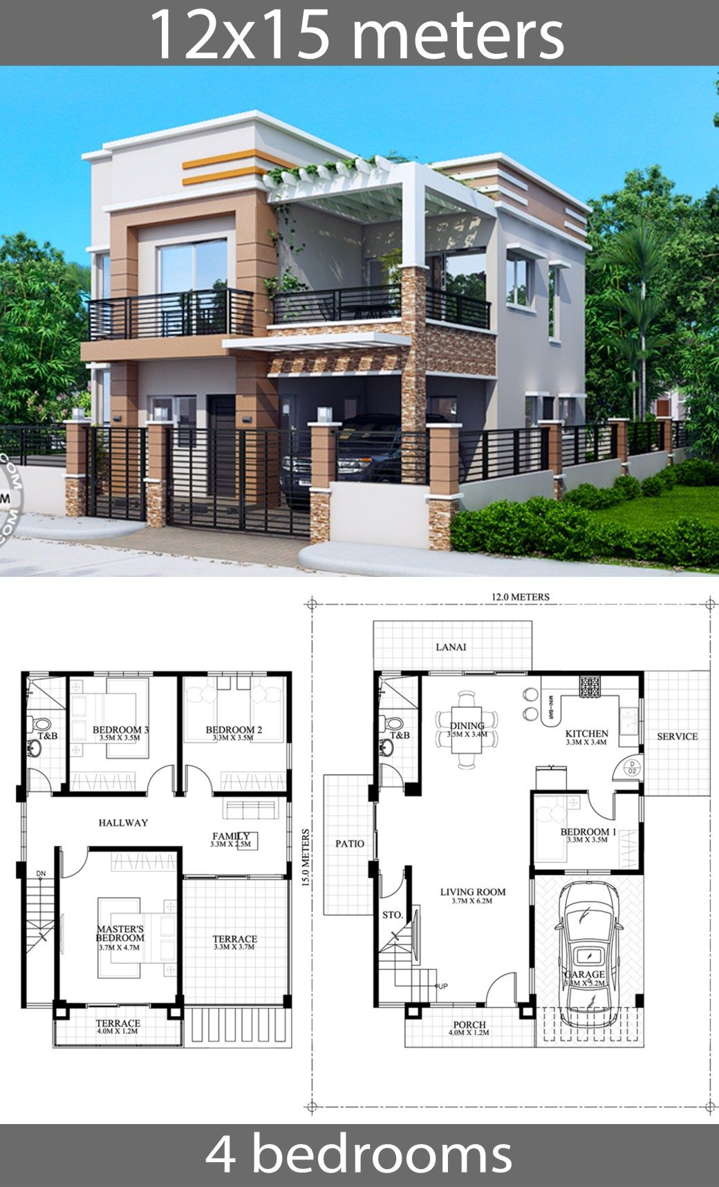 House Plans 12x15m With 4 Bedrooms House Idea In 2020 Family House Plans Model House Plan Architectural House Plans