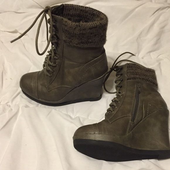 Winter shoes About 4 inch wedges with cloth tops and zipper on the inside. It's an in between color of grey and green. Worn twice. Mossimo Supply Co Shoes Winter & Rain Boots