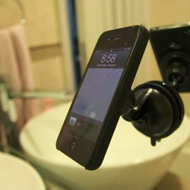 Bathroom Mirror Mount imagnet phone holder mounted in the bathroom mirror for easy