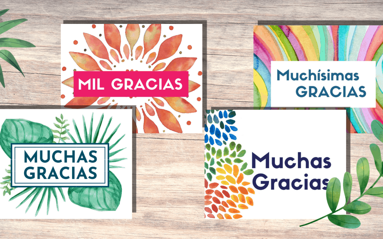 free printable thank you cards in spanish in 2020