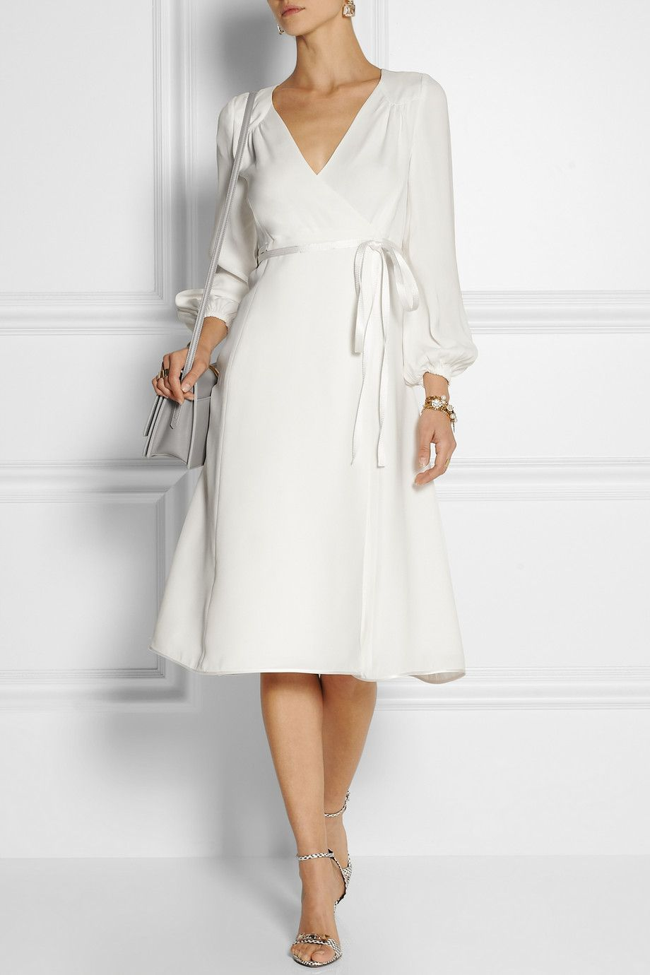 Marc Jacobs | White Silk Crepe Wrap Dress | Lyst | Uninterrupted ...