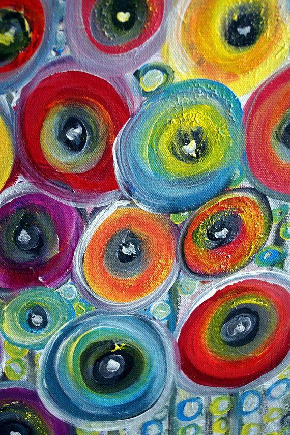 Fiori capricciosi astratti moderni originali pittura for Dipingere quadri moderni
