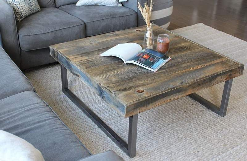 Reclaimed Wood And Metal Square Coffee Table Tube Steel Legs In