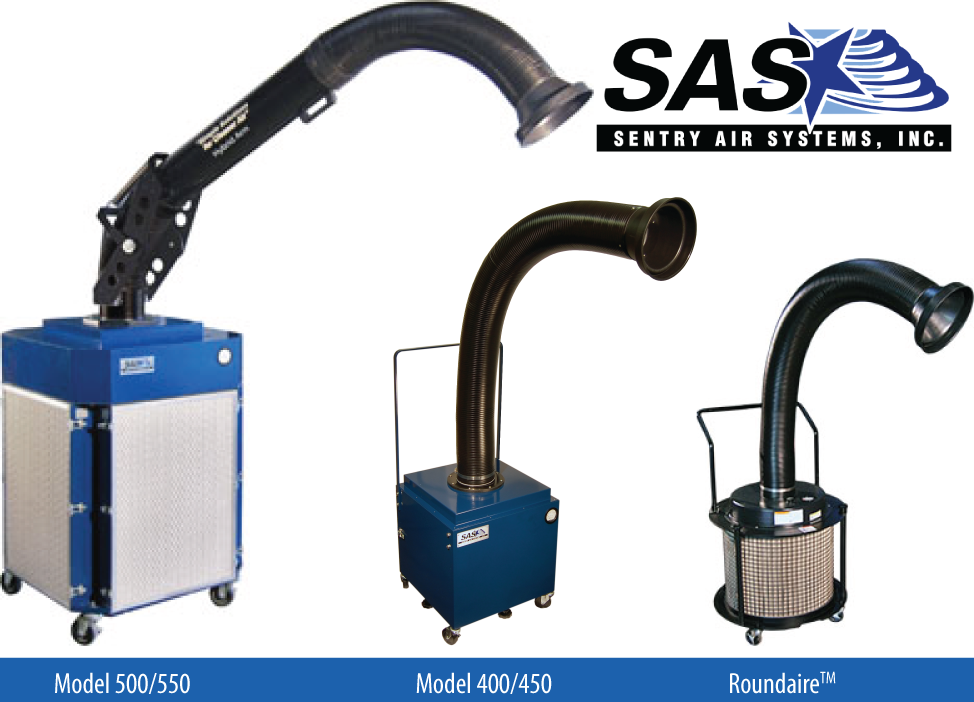 Three Sentry Air Systems fume extractors. System