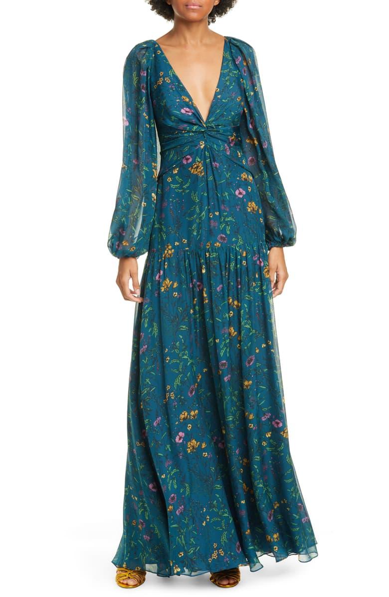 Amur Gwenevere Floral Print Long Sleeve Silk Maxi Dress Nordstrom Maxi Dress Maxi Dress With Sleeves Long Sleeve Maxi Dress [ 1196 x 780 Pixel ]