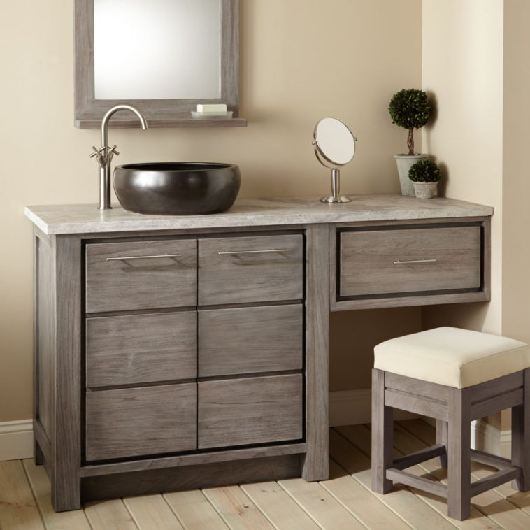 Blackvessel Sink Vanity With Grey Wooden Makeup Cabinet With Several Drawer Added Small Bench Bathroom With Makeup Vanity Bathroom Vanity Wooden Bathroom
