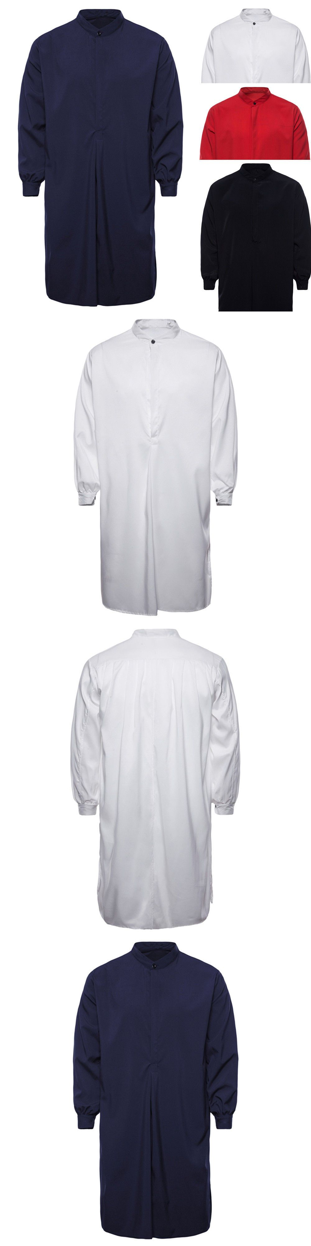 Middle East 155253 Men S Autumn Solid Muslim Thobe Islamic Arabic Baju Koko Bordir Sandi Clothing Long Sleeve Shirt
