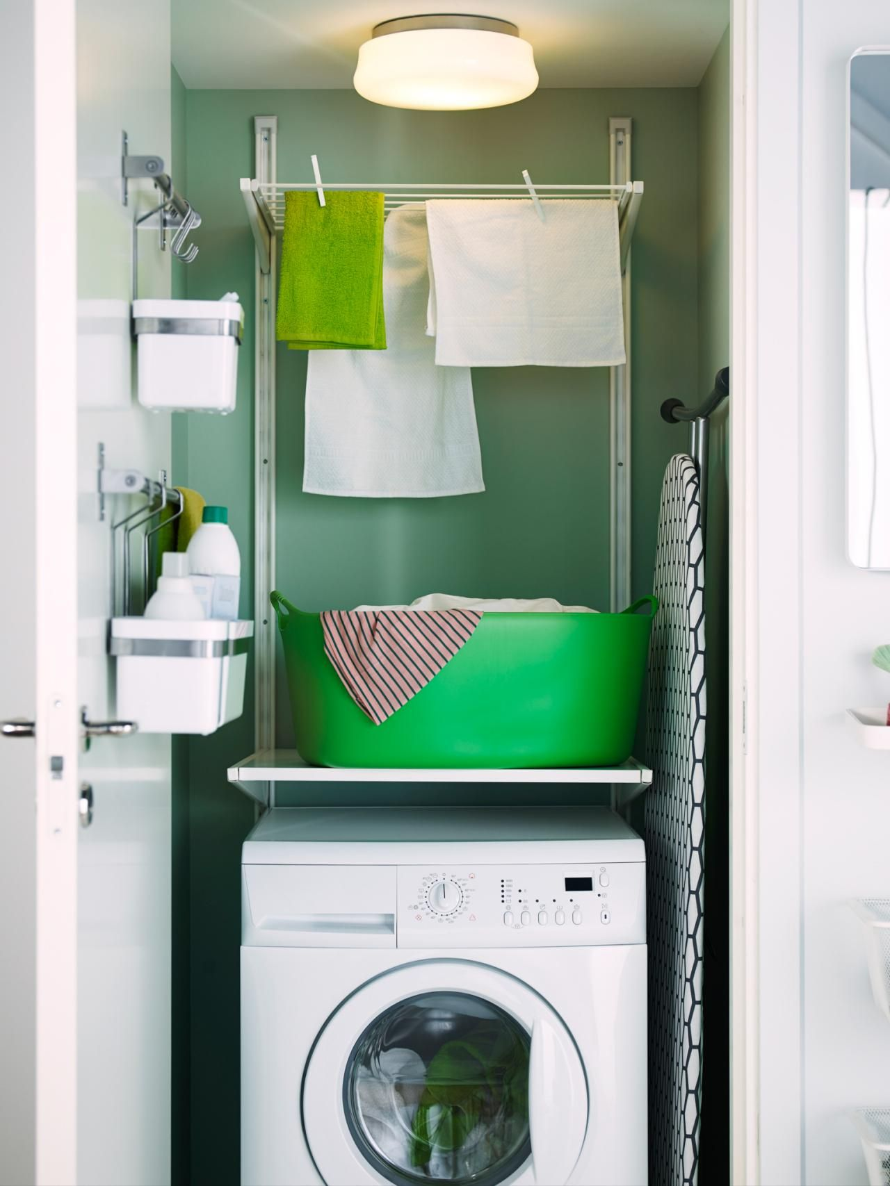 Tiny Green Laundry Room With Adjustable Shelving. No Built In Cabinets? No  Problem