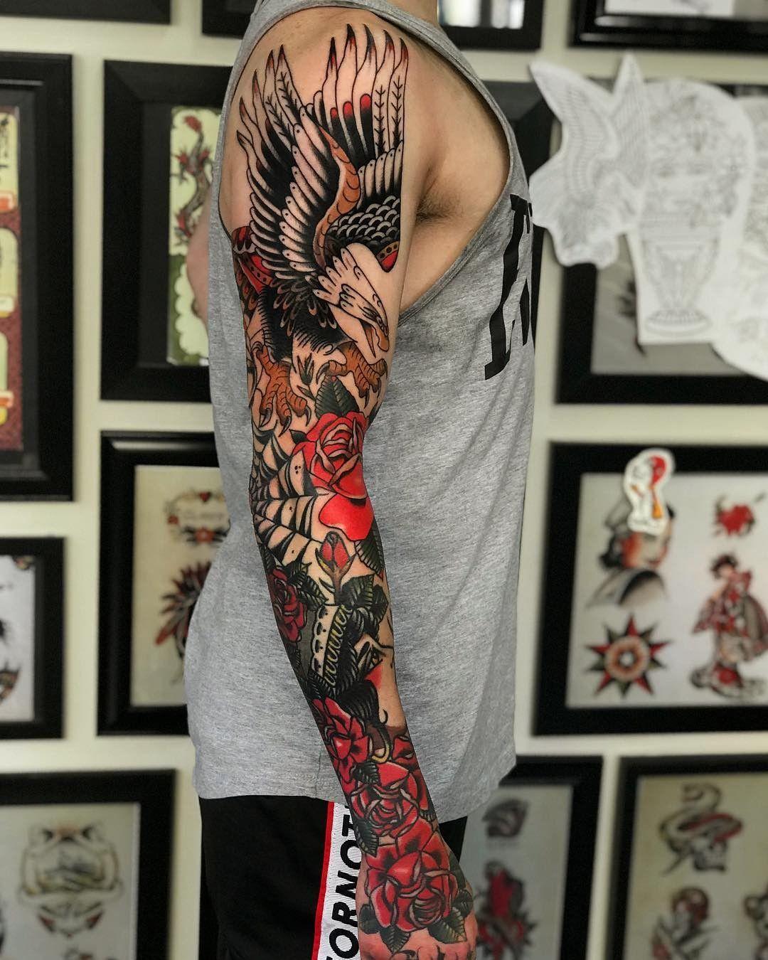 Pin By Joshua On Tatuagem Traditional Tattoo Design Traditional Tattoo Sleeve Music Tattoo Sleeves