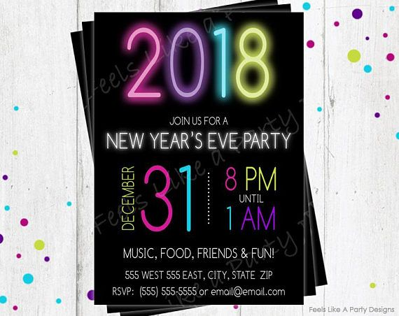 new year invite new years eve party invite neon and black new year invite