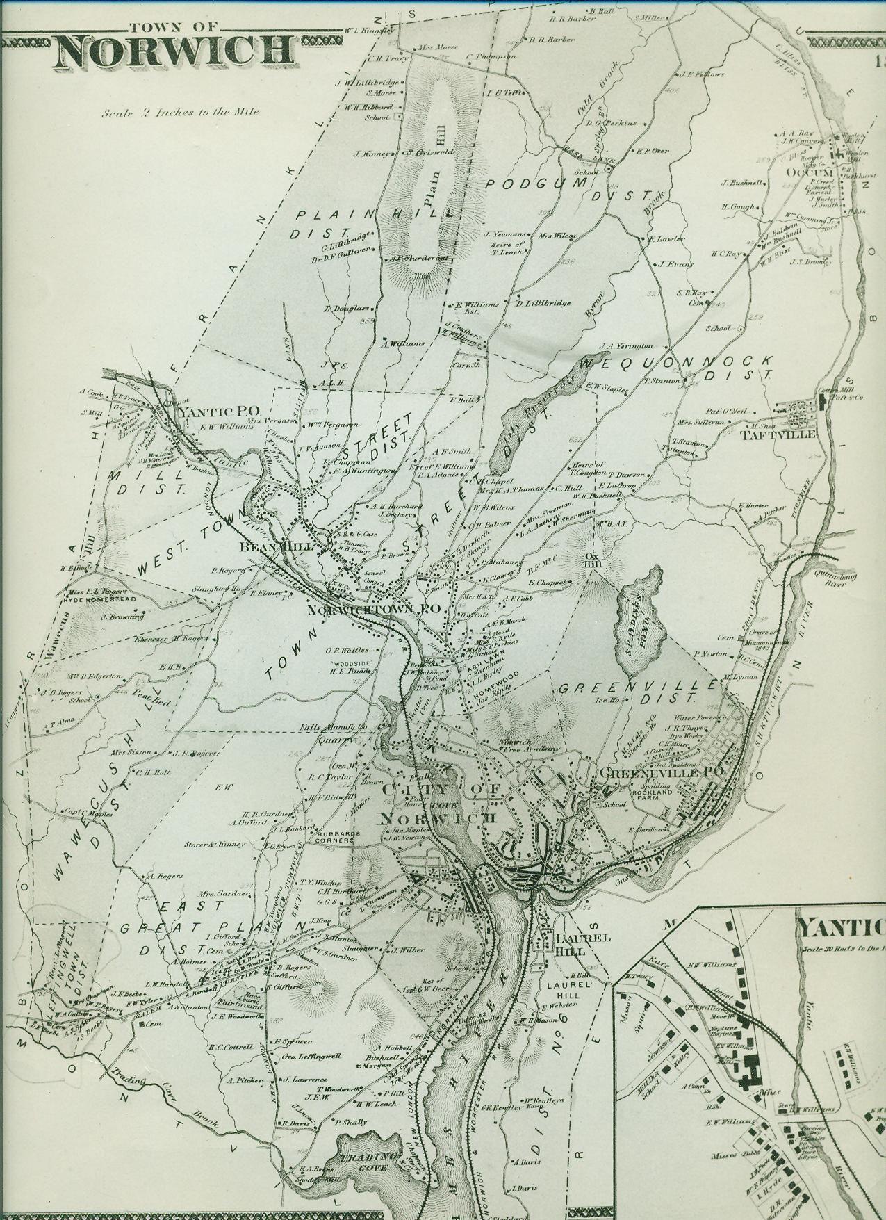 Norwich, CT--map | Norwich CT Local History & Genealogy | Pinterest ...