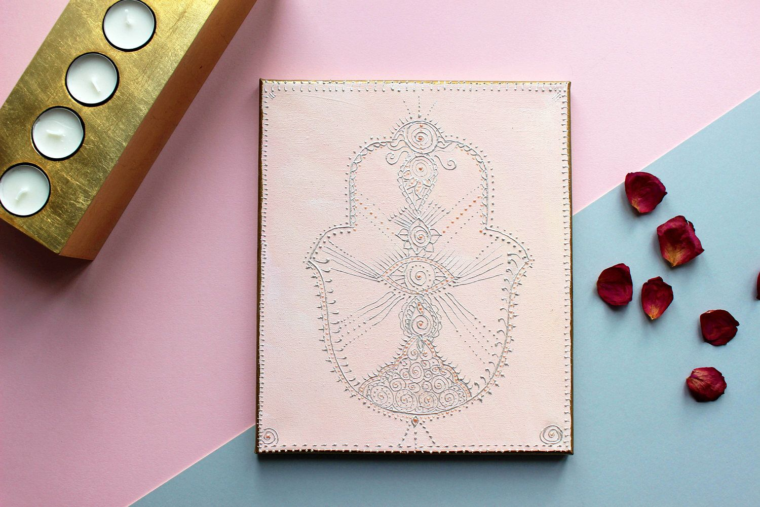 A personal favourite from my Etsy shop https://www.etsy.com/uk/listing/508766308/hamsa-hand-yoga-gift-hand-of-fatima