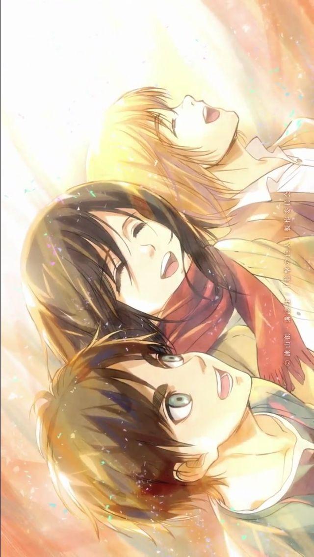 So Precious Eren Mikasa Armin Attack On Titan Anime Attack On Titan Fanart Attack On Titan Eren